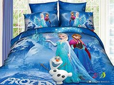 Cooperation 100% Cotton Cartoon Frozen Princess Elsa & Anna Bedding Set 4pc Bedspread Quilt Cover and Pillowcase (Blue) | Home Style Studio