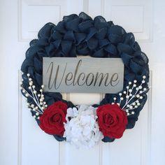 Patriotic blue summer burlap wreath with by SimpleCountryBurlap