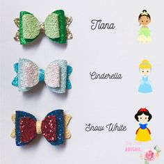 Items similar to Princess inspired bow gift set on Etsy Ribbon Hair Bows, Diy Ribbon, Girl Hair Bows, Ribbon Flower, Fabric Flowers, Felt Headband, Flower Headbands, Disney Hair Bows, Bow Template