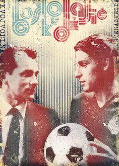 Vujadin Boškov and Dragan Džajić by Marija Marković Football And Basketball, Soccer Players, Red Star Belgrade, Vintage Football, Behance, Football Players