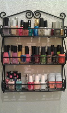 Spice rack for nail polish. GENIUS! I hate my drawer that is just jammed pack with nail polishes. It looks awful and it's a pain.