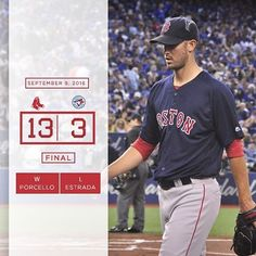 Rick Porcello reaches the 20-win plateau as the #RedSox build AL East lead to 2 games. 9/9/16°