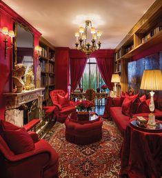 Luxury Interior, Modern Interior Design, Room Interior, Interior Architecture, Red Bedroom Design, Bedroom Red, Bedroom Decor, Red Living Room Decor, Living Room Designs