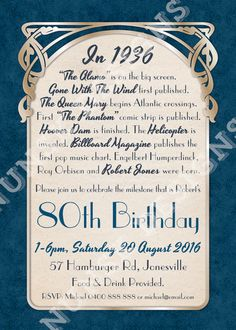 Birthday Party Invitations // Men's Art by NunskDesigns Custom Invitations, Invitation Design, Invite, Dad Birthday, Birthday Parties, Birthday Cake, 1930s Party, Art Nouveau, 80th Birthday Invitations