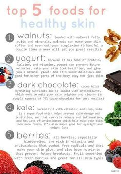 Healthy food = healthy skin #healthy #food Healthy foods you should be eating!