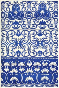 """Illustration of Borders from blue-and-white china bottles from """"Examples of Chinese Ornament"""", by Owen Jones, London, 1867 Wall Patterns, Painting Patterns, Textures Patterns, Print Patterns, Floral Patterns, Blue And White China, Blue China, Pattern Art, Pattern Design"""
