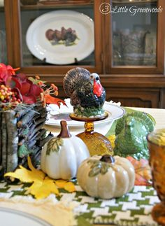 Our Thanksgiving Table ~ A traditional tablescape with pops of fall color and DIY Branch Basket Centerpiece http://www.3littlegreenwoods.com