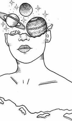 (notitle) - Illustration - # Bleistiftzeichnung - ᴢᴇɪᴄʜᴇɴᴠᴏʀʟᴀɢᴇɴ♡ - Painting Tips Space Drawings, Pencil Art Drawings, Cute Drawings, Drawing Sketches, Tattoo Sketches, Drawing Ideas, Art Sketchbook, Doodle Art, Line Art