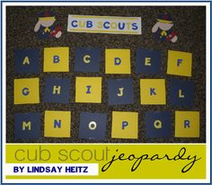 Cub Scout Jeopardy! This is especially fun for the Wolves since they are so new to the scouting program and need to learn a lot to earn their Bobcat. Using a Cub Scout Handbook, I came up with random questions. We divided into two teams. The boys always seem to enjoy a little friendly competition. Playing games is a great way to review good sportsmanship.
