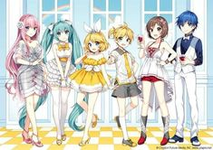 Luka, Miku, Rin, Len, Meiko & Kaito