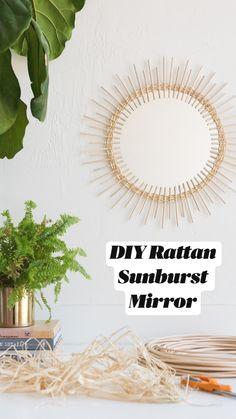 Diy Crafts For Home Decor, Diy Wall Decor, Diy Mirror Decor, Craft Room Decor, Diy Wall Art, Decoracion Low Cost, Sunburst Mirror, Boho Diy, Bohemian Decor