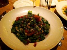 """Cheesecake Factory has a few different options that can be made vegan.  This is a """"skinny salad"""" made with a pomegranate vinegrette, asparagus, edamame, tomato and greens.  Ask for no cheese.  #cheesecake #factory #salad #skinny #vegan #chicago #Illinois"""