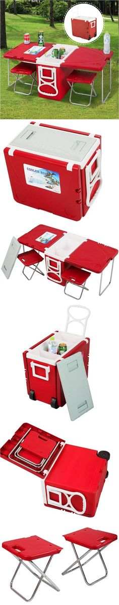 Multi-Functional Rolling Cooler With Picnic Table And Two Chairs! Perfect for picnics in the park or beach, camping and any outdoor parties! - Tap The Link Now To Find Gadgets for Survival and Outdoor Camping Camping Glamping, Camping Chairs, Beach Camping, Camping And Hiking, Camping Life, Family Camping, Camping Gear, Picnic Chairs, Picnic Tables