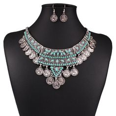 Charm Bohemian Coins Pendant Choker Bib Chain Necklace Hook Earrings Jewelry Set…