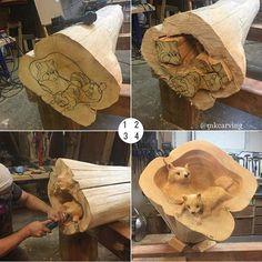 New Ideas For Woodworking Art Sculpture Chainsaw Carvings Learn Woodworking, Woodworking Crafts, Woodworking Plans, Woodworking Videos, Into The Woods, Wood Carving Art, Wood Art, Dremel Carving, Wood Wood