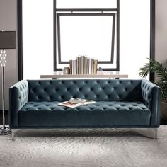 A decadent blend of minimalist lines and maximalist details, this contemporary tufted sofa elevates any living room with its modern elegance. Its plush dusty blue upholstery is paired with radiant gold-finished metal legs for instant designer style. Tufted Sofa, Sofa Bed, Sectional Sofa, Sofa Upholstery, Sofa Furniture, Shabby Chic Furniture, Living Room Furniture, Dusty Blue, Luanna