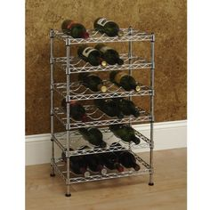 Seville Classics 12-Bottle Stackable Wine Rack, 11.5-inch by 17.5-inch by 12-inch  This 12 Bottle Wine Rack is constructed from industrial-strength UltraZinc plated steel and ideal for any wine lover! The zinc plating process provides added corrosion resistance and is better for the environment (compared to chrome plating) as fewer harmful chemicals are used in the plating process. Each shelf has specially designed contours that elegantly secure each bottle. This durable wine rack is..