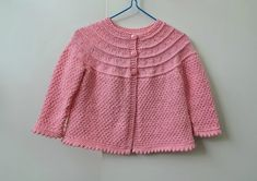 Handknit pink baby cardigan for girl 6 months, knitted textured baby sweater, soft & pretty cardigan, handmade baby clothes, girls handknits Baby Boy Cardigan, Baby Girl Sweaters, Handmade Baby Clothes, Baby Month By Month, Baby Knitting, 6 Months, Ready To Wear, Pretty, Pink