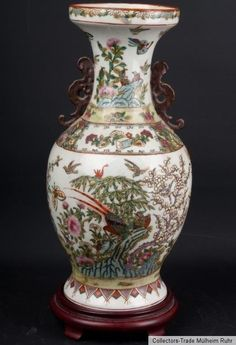 China 20. Jh. A Chinese Porcelain Famille Rose Baluster Vase Vaso Cinese Chinois