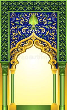 Decorative islamic arch design ideal for poster, brochure, greeting cards and banners royalty free illustration Royal Background, Studio Background Images, Photo Background Images, Background Patterns, Thai Pattern, Pattern Art, Wallpaper Ramadhan, Islamic Decor, Islamic Art Pattern