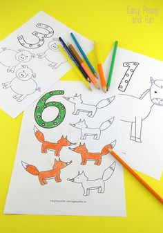 Counting coloring pages! Cute and free!