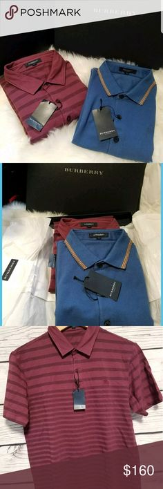 """BURBERRY LOT 2 MENS POLO SHIRTS SLIM FIT JAPAN LRG Burberry london Large. Comes with box. Approx measurements are Blue Shirt  Pit to pit: 20"""" Pit to bottom hem: 17""""  Purple shirt Pit to pit: 19"""" Pit to bottom hem: 17""""  Didnt fit my father in law Burberry Shirts Polos"""