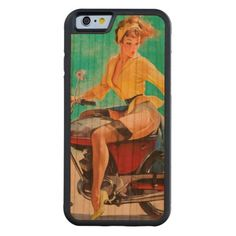 Vintage Motorcycle Rider Gil Elvgren Pinup Girl Carved® Cherry iPhone 6 Bumper
