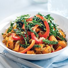 Curried Lentil & Squash Bowl with Kale & Peppers
