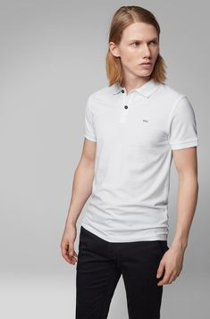 BOSS - Slim-fit polo shirt in washed cotton piqué Slim Fit Polo Shirts, Black Polo Shirt, Hugo Boss, Wardrobe Staples, Polo Ralph Lauren, Fitness, Casual, Mens Tops, Cotton