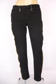 TWENTY 8 TWELVE Sienna Miller Jeans Size 26 S Black Gold Sexy Tuxedo Side Zipper #Twenty8Twelve #SlimSkinny