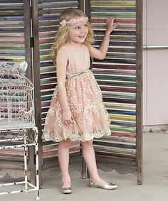 Look at this Pink & Ivory Lace Belted Dress - Toddler & Girls on #zulily today!