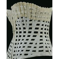 Corset | 1890-1900. This type of design was known as a 'ventilated' corset and was suitable for sports and summer wear. The spaces in between the whalebone and cotton tapers were intended to allow air to circulate, enabling the skin to 'exhale' and perspiration to evaporate. This was one of the many 'health' innovations endorsed by manufacturers of late nineteenth century underwear.