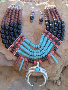 Cowgirl Bling Western Native Squash Blossom Faux TURQUOISE Bead necklace set #other