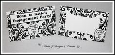 Place Cards #Black #And #White #Damask #Floral #Engagement #Party #Colour #Schemes #Bunting #Party #Decorations #Ideas #Banners #Cupcakes #WallDisplay #PopTop #JuiceLabels #PartyBags #Invites #KatieJDesignAndEvents #Personalised #Creative