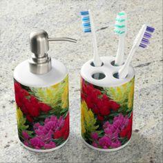 Multicolored Flower Bath Set