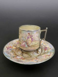 Antique 19th Century. Viennese Enamel on Silver Cup & Saucer - Teacup - Pastoral Scene of Courting Couple