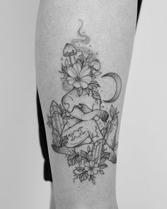 Fine line tattoo by Jessica Joy. Jessica Joy is one of the most popular artists in modern tattoo art. For more details →View Website Modern Tattoos, Dope Tattoos, Pretty Tattoos, Leg Tattoos, Flower Tattoos, Black Tattoos, Body Art Tattoos, Sleeve Tattoos, Tattoos For Guys