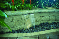 $569 The WaterWall Spillway Kit combines all of the required components for a retaining wall water feature into a convenient kit that saves you time and money.  Kit includes:  16″ Stainless Steel Waterfall Spillway Medium AquaBasin® with Splash Pad Ultra™ Pump with Plumbing Components 1-Watt 12V LED Waterfall Light Compact Water Fill Valve Easy to install, simply:  Connect the plumbing. Position the spillway in the wall. Level the unit and finish the wall. Fill the asin with water and plug…