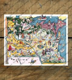 Minnesota and Wisconsin Vintage Whimsical 1930s' Map - Restoration Hardware Style Home Deco Style Old Wall Vintage Reproduction Print.