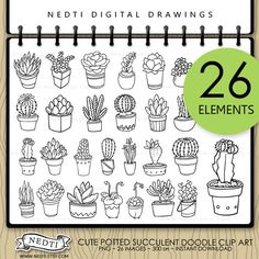 Potted Succulents Doodle Clip Art by Nedti by Nedti.deviantart.com on @deviantART