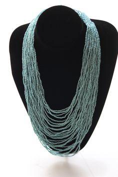 Sea Blue Neckpiece with beaded clasp
