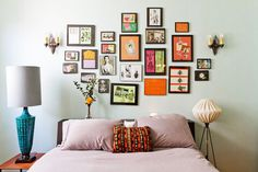 Wall Art: mix of frame size and color.