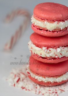 /Anything for Breast Cancer.  akt Delightfully pretty Candy Cane Macarons.