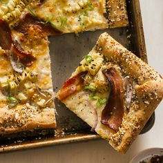 Charred Corn + Bacon Pizza with a Cream Cheese Stuffed Crust