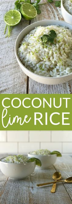 Coconut lime rice is an easy and delicious recipe. Creative, yet simple ingredients for the perfect weeknight side dish. This rice is vegan, dairy free and gluten free.