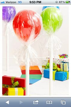 Candy land  theme  birthday - balloons wrapped with cellophane
