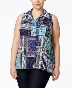 Ny Collection Plus Size Utility Blouse - Exquisite 1X