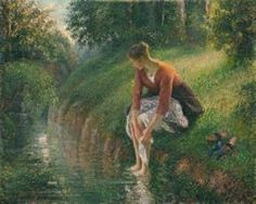 Camille Pissarro  Woman Bathing Her Feet in a Brook, 1894/95.  I saw this in my favorite Chicago museum! My favorite painting there.
