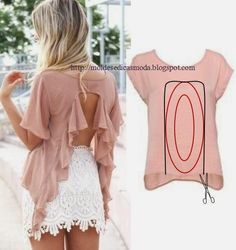 32 Trendy Ideas For Diy Ropa Reciclada Camisetas Diy Clothing, Sewing Clothes, Clothing Patterns, Sewing Patterns, Old T Shirts, Cut Shirts, Cutting Shirts, Diy Fashion, Ideias Fashion