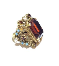 Fabulous Deep Topaz Ring, Gold, Seed Pearls, Turquoise, Filigree, Ornate, Unsigned, Adjustable Band, 1950s
